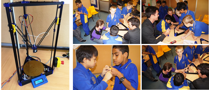Collage of student working with an 3D printer at Quakers Hill Public School
