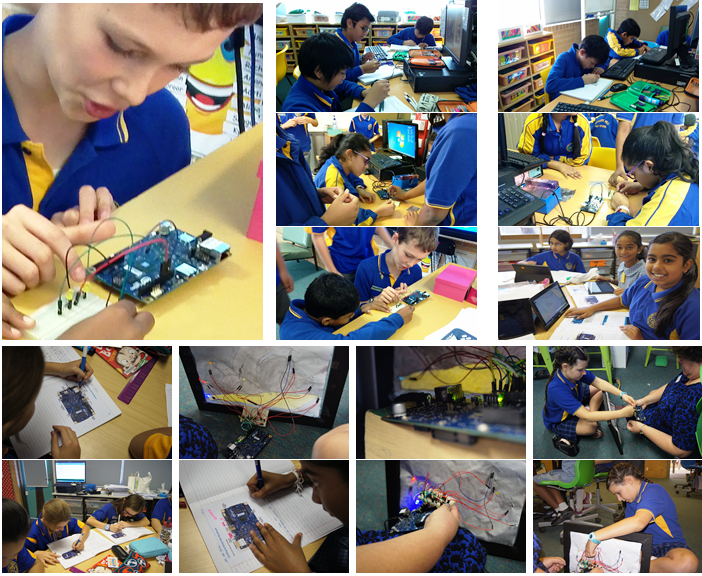 Collage of images of students working with technology at Quakers Hill Public School
